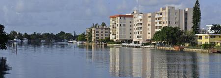 intercoastal: Miami Beach intercoastal waterway, waterfront residential structures Stock Photo