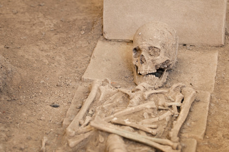 archeological site: Some 2000 years old skeleton revealed at archeological site Stock Photo