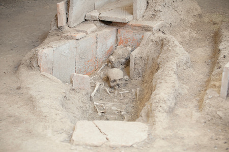 archeological site: Unearthed human remains at Ancient Roman archeological site Stock Photo