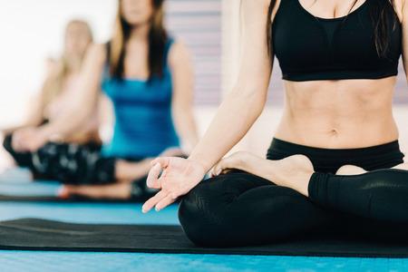 buena postura: Grupo de mujeres en el yoga y la clase de meditaci�n, meditando en posici�n de loto cl�sico
