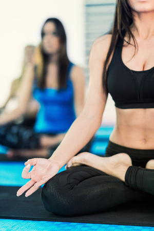 lotus position: Lotus position on yoga class