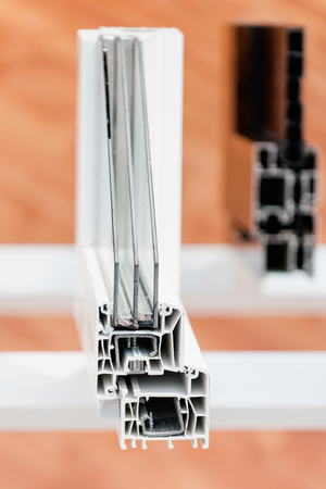 aluminum: PVC window profile Stock Photo