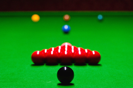 pool hall: Snooker table setup, balls in starting position