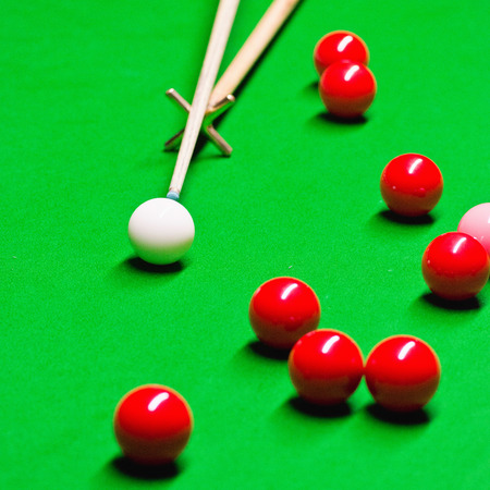pool hall: Snooker game detail Stock Photo