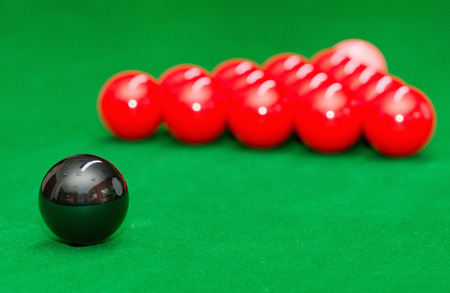 starting position: Snooker balls in starting position Stock Photo