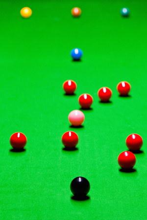 snooker table: Snooker balls spread over snooker table during game Stock Photo