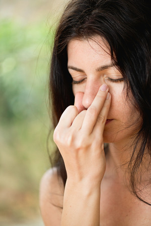 breathing exercise: Breathing exercise Pranayama - Alternate nostril breathing, often performed for stress and anxiety relief