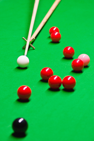 snooker hall: Detail from game of snooker - using rest Stock Photo