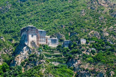 monastic: Simonopetra Monastery. Christian Orthodox monastery situated in the monastic state of Mount Athos, Athos peninsula, Chalkidiki, Greece.