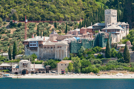 monastic: Dochiariou monastery. Christian Orthodox monastery situated in the monastic state of Mount Athos, Athos peninsula, Greece. Founded in tenth century and dedicated to Archangels Michael and Gabriel.