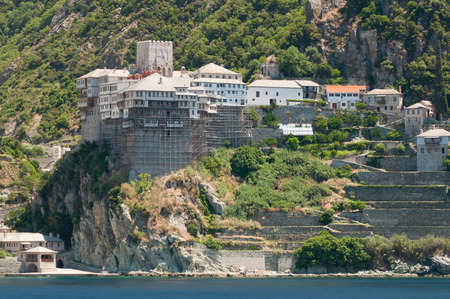 monastic: Mount Athos, Greece - June 23, 2011: Agiou Pavlou or St. Pauls Monastery. Christian Orthodox monastery situated in the monastic state of Mount Athos, Athos peninsula, Chalkidiki, Greece. Founded in Byzantine times by St. Paul of Xeropotamou and later res