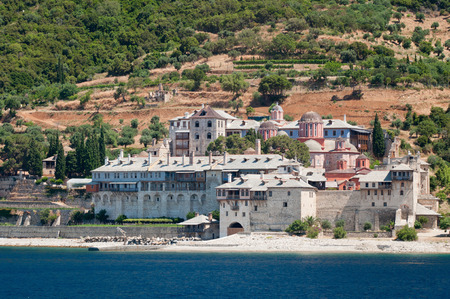 monastic: Xenophontos monastery. Christian Orthodox monastery situated in the monastic state of Mount Athos, Athos peninsula, Chalkidiki, Greece. Founded in tenth century and dedicated to St. George.