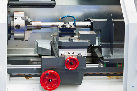 toolroom: Industrial CNC Toolroom Lathe Stock Photo