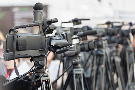 publicity: Press cameras lined up at a large publicity event Stock Photo