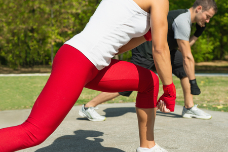 two persons only: Taebo cross punch training Stock Photo