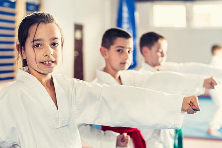 Children in Taekwondo fighting stance. Toned image