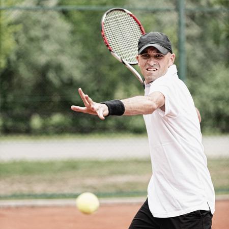 forehand: Tennis player hitting forehand