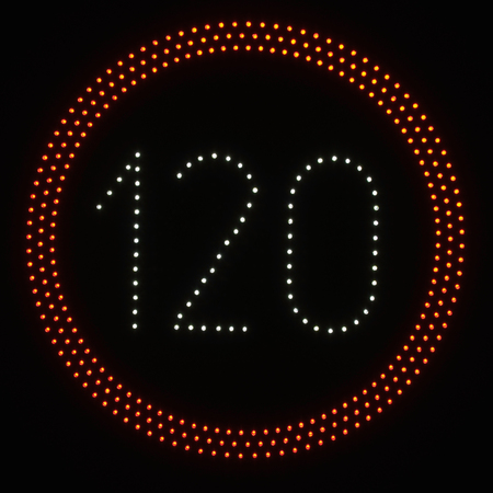 speed limit sign: LED light speed limit sign on black background - 120