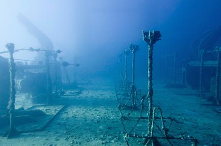 sunken: Spooky athmosphere on the deck of a sunken ship. Salem Express, Red Sea.
