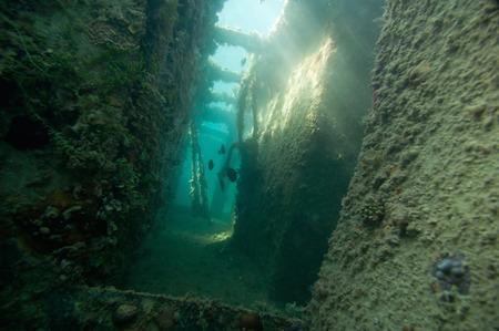 shipwreck: Spooky corridor on a shipwreck Stock Photo