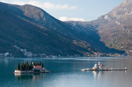 kotor: Famous Church Islands in Kotor Bay; Montenegro. Stock Photo
