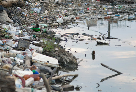 plastic waste: River bank polluted with predominantly plastic waste. Selective focus Stock Photo