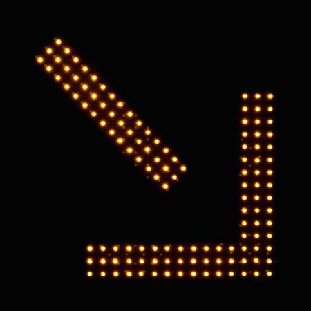 traffic warden: Digital traffic control signal - Left lane ends Stock Photo