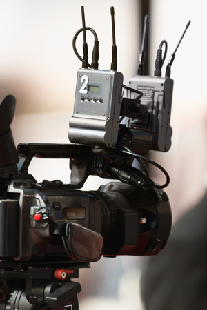 commercial event: Television camera covering an event Stock Photo