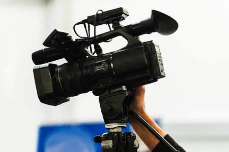television camera: Television camera, detail from public event Stock Photo