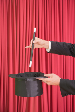 magic trick: Classic magic trick with wand and top hat
