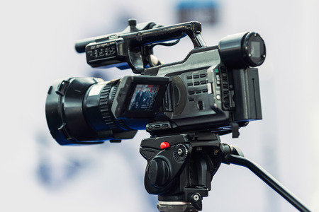 commercial event: Tv camera at the press conference Stock Photo