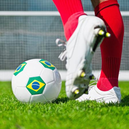 penalty flag: Penalty kick with Brazilian flag ball