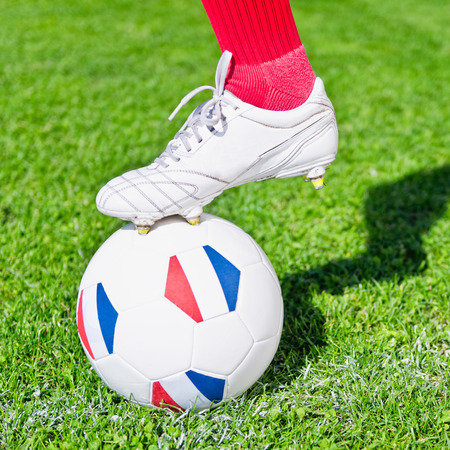 kickoff: Soccer player ready to kick-off Stock Photo