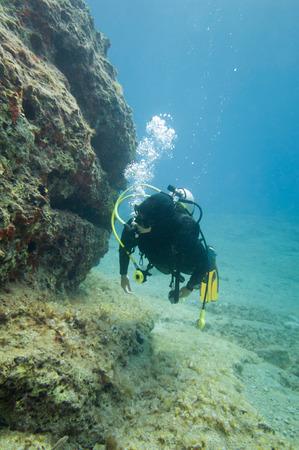 scuba diver: Scuba diver exploring coral reef underwater