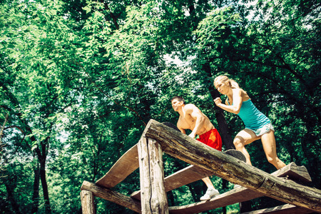 obstacle course: Outdoor, Fitness, Couple, Obstacle Course, Fitness Trail Stock Photo