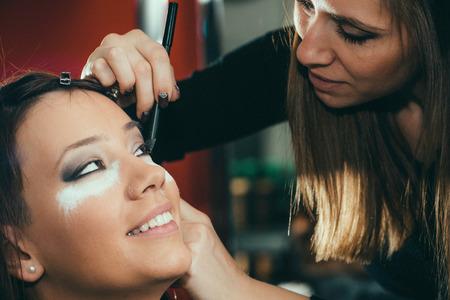 toned image: Eye shadows, make-up, beauty salon, make-up artist, toned image Stock Photo