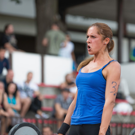 competitor: Female CrossFit competitor deadlifting