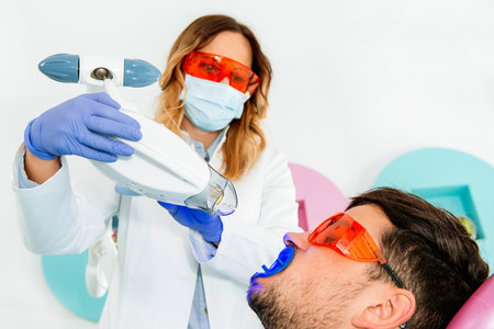 Laser teeth whitening Stock Photo