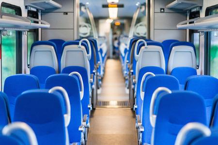 New train interior, empty seats Stock Photo