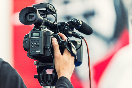 television camera: Television camera recording an event Stock Photo