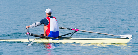 sculling: Sports rowing, single scull Stock Photo