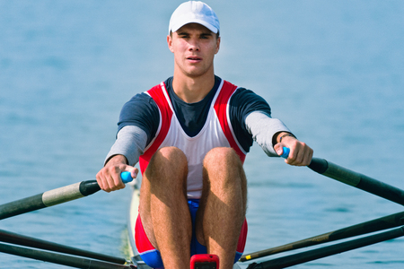 sculling: Single scull rowing competitor