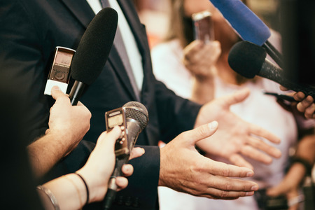 spokesperson: Media journalists interviewing politician or business person
