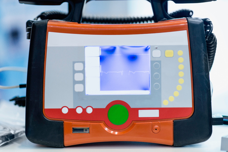 medical technical equipment: Portable defibrillator, usually found in ambulance vehicles