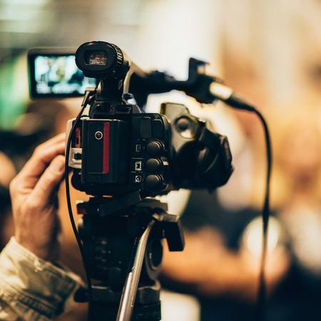 television camera: Television camera at press conference