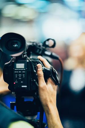 television camera: Television camera recording a publicity event