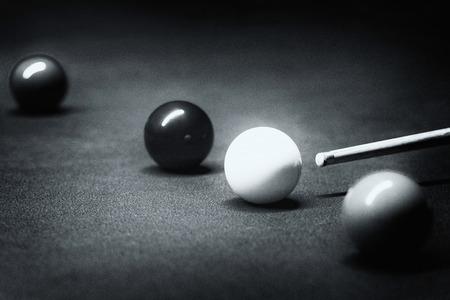 film noir: Snooker balls. Film noir style processing, fine grain. Stock Photo