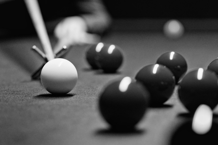 pool hall: Snooker game detail in black and white