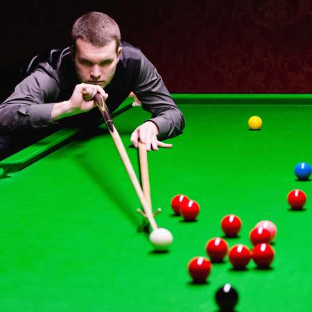 snooker: Professional snooker player during snooker game