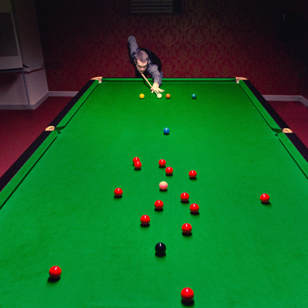 snooker table: Snooker table shot from above Stock Photo